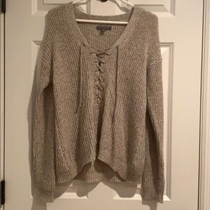 American Eagle Slouchy Lace Up Sweater Women's OS